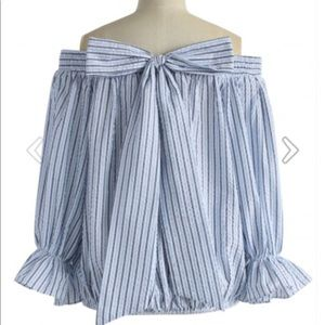 Pretty off the shoulder blouse with bow tie back
